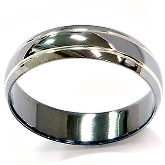 Mens 14K Black Gold 6mm Wedding Ring Band
