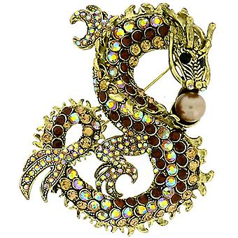 Brooches Store Oversized Antique Gold Topaz & AB Crystal Dragon with Pearl Brooch