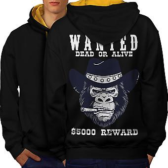Cowboy Bad Monkey Face Men Black (Gold Hood)Contrast Hoodie Back | Wellcoda