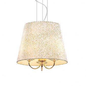 Ideal Lux Königin elegante Gold Rose Trommel Schatten Anhänger, 3 Leuchtmittel
