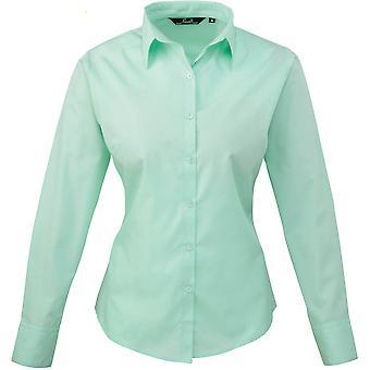 Premier Womens/Ladies Poplin Polycotton Long Sleeve Corporate Blouse