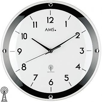 Radio controlled wall clock Black White mineral glass diameter 31 cm