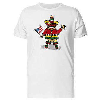 Mexican Man Holding Taco & Flag Tee Men's -Image by Shutterstock