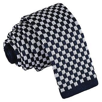 Hvit og marinen sjekk strikket tynne slips