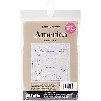 Sashiko World America Stamped Embroidery Kit-Farmer's Wife
