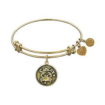 Smooth Finish Brass Cancer June Angelica Bangle Bracelet, 7.25