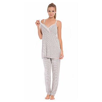 Olian Sally Stripes 4-Piece Nursing PJ Set with Baby Outfit
