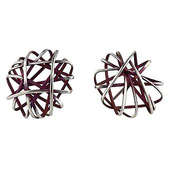 Ti2 Titanium Round Cage Chaos Stud Earrings - Mulberry Brown
