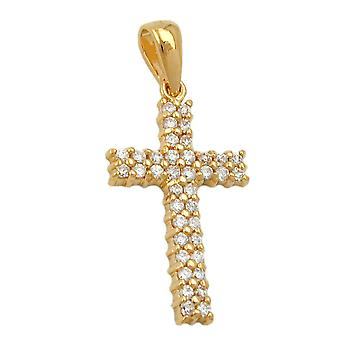 gold-plated cross pendant cross necklace pendant cross cubic zirconia gold plated
