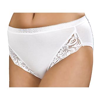 Ladies Combed Cotton & Lace Panel High Leg Stretch Brief UK18/EU46 White 3PK
