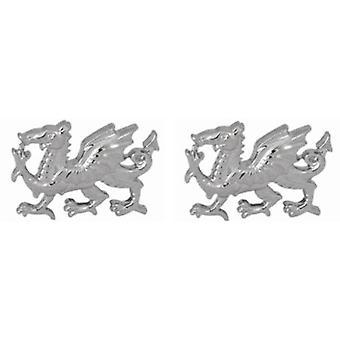 David Van Hagen Sterling Silver Welsh Dragon Cufflinks