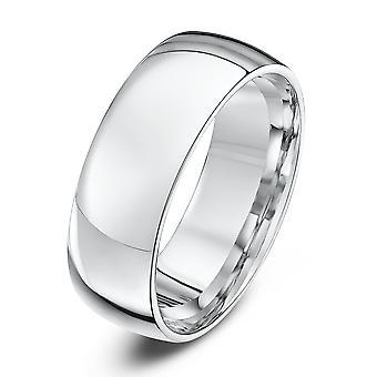 Star Wedding Rings 9ct White Gold Light Court Shape 7mm Wedding Ring