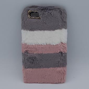 para iPhone 6 Plus-mullida bolsa-rosa/gris-