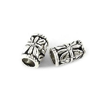 Packet 30 x Antique Silver Tibetan 6 x 9mm Tube Spacer Beads HA17500