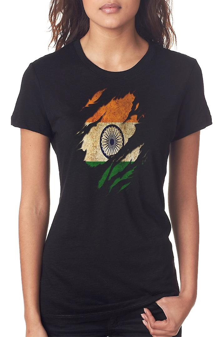 Indian Grunge Flag Ripped Effect Ladies T Shirt