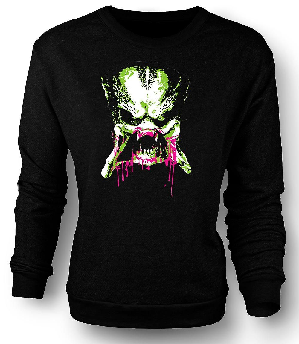 Mens Sweatshirt Predator Alien - Pop Art - Face - Movie