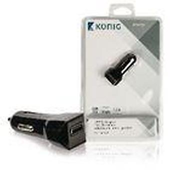 Konig Universal Car Charger Output 5V 1.2A 1x USB Black iPhone Samsung Mobile Phone Adapter