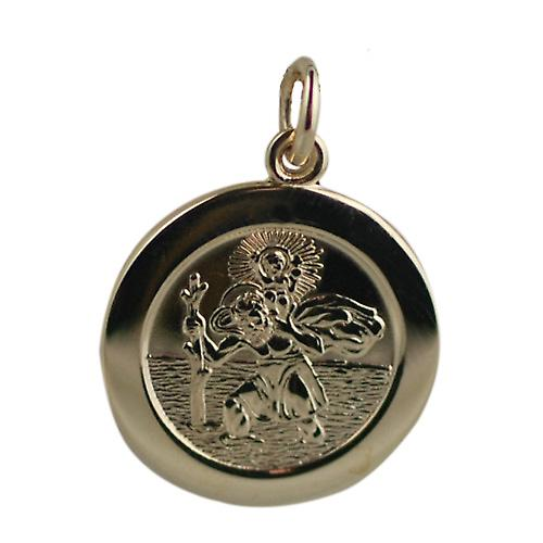 9ct Gold 21mm round St Christopher Pendant