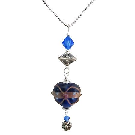 Wedding Cake Heart Pendant Dangling w/ Swarovski Crystals Necklace