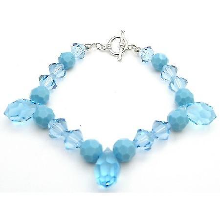 Elegant Bracelet Swarovski Aquamarine & Turquoise Crystals Tear Drops