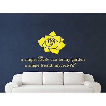 A Single Rose Wall Art Sticker - Bright Yellow