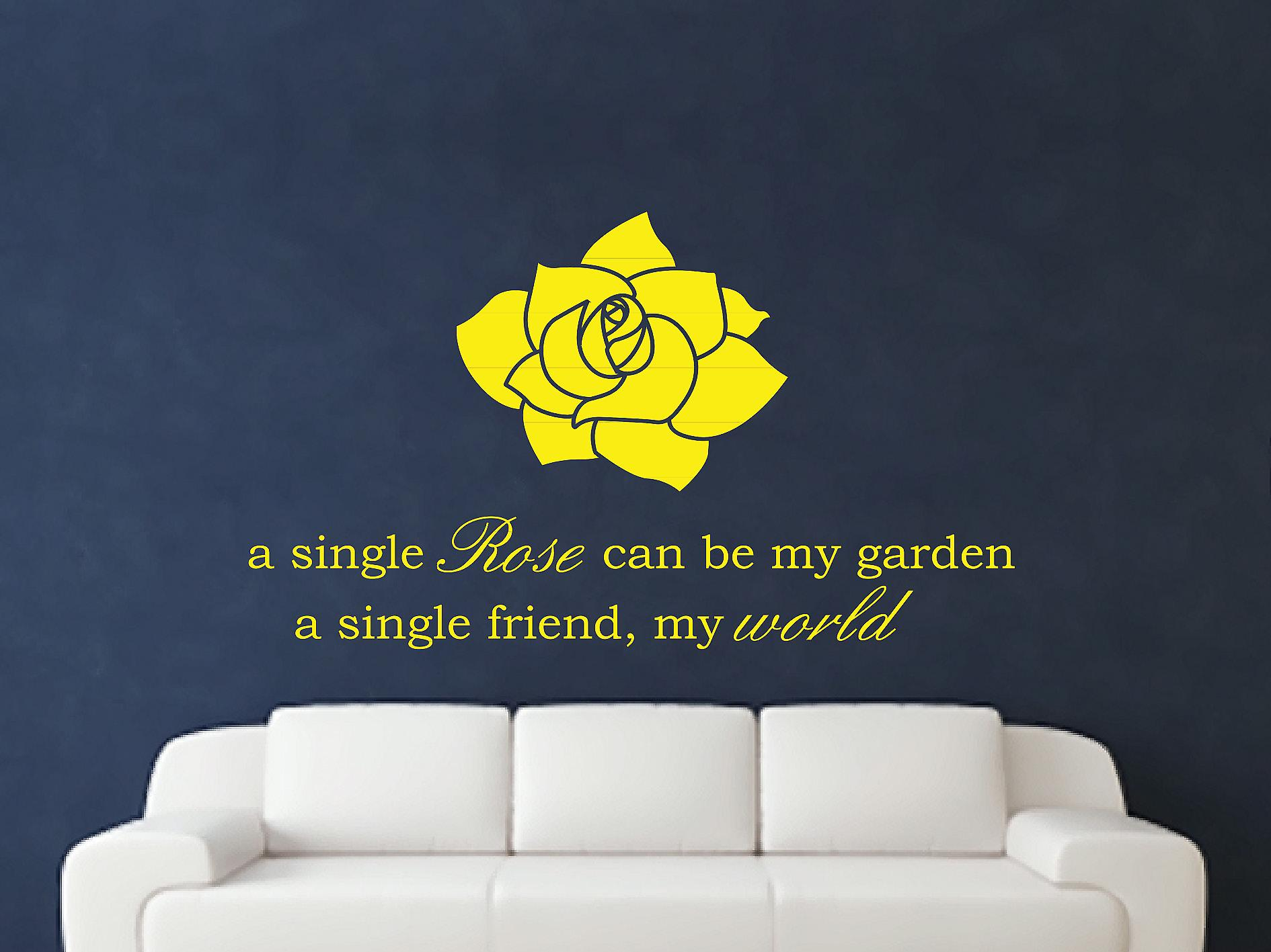A Single Rose Wall Art autocollants - Bright Yellow