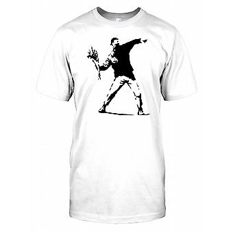 Banksy - Rioter Throwing Flowers - Urban Artist Kids T Shirt