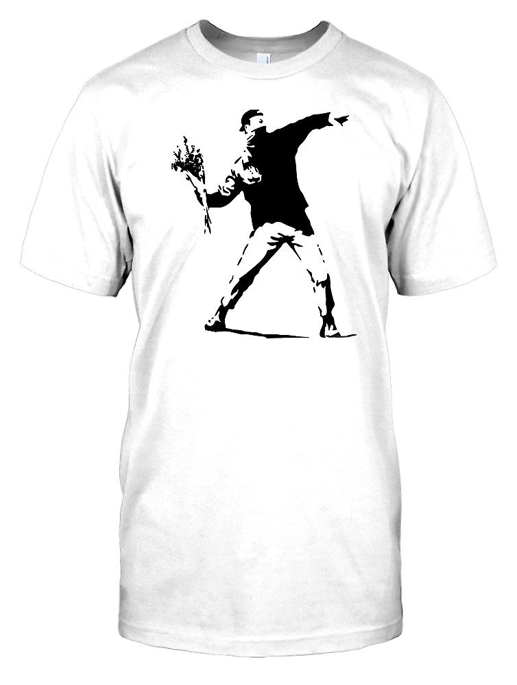 Banksy - Rioter Thgrowing Flowers - Urban Artist Mens T Shirt