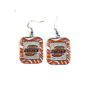 Oklahoma State Cowboys NCAA Zebra Style Dangle Earrings