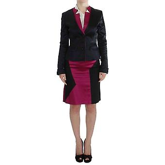 Exte Black Pink Two Piece Suit Skirt & Blazer -- SIG3874992