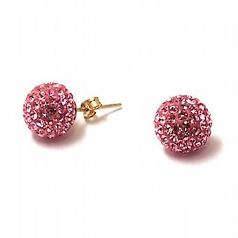 The Olivia Collection 9ct Yellow 11mm Pink Crystal Disco Ball Earrings
