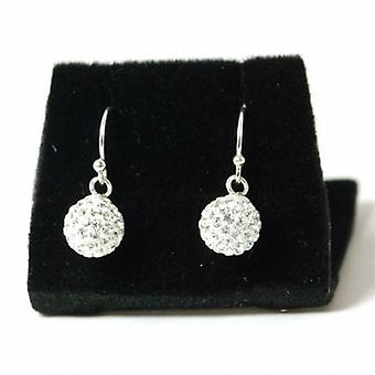 Toc Sterling Silver 7mm Clear Crystal Disco Ball Drop Earrings