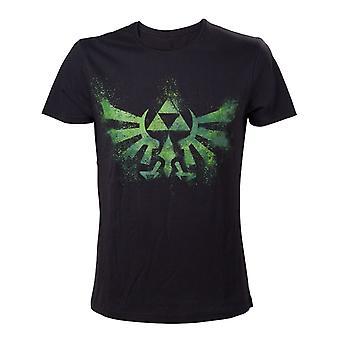 Men es The Legend of Zelda Tri-Force Logo Black and Green T-Shirt