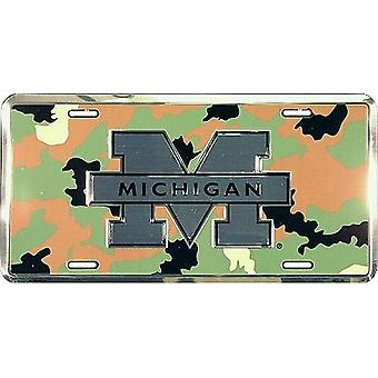 Michigan Wolverines NCAA Camo Logo License Plate