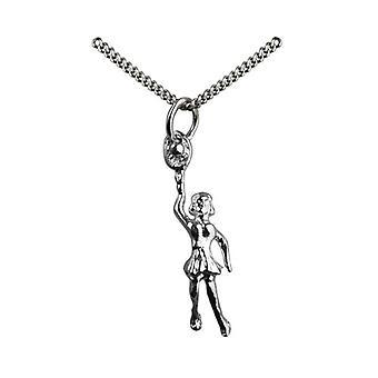 Srebrny 29x9mm kobiet tenisista z rakiety i lampa wisząca Ball z krawężnika łańcucha 18 cali