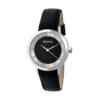 Bertha Cecelia Leather-Band Watch - Black