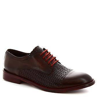 Leonardo Shoes Chaussures homme chaussures de derby lacées à la main brun foncé cuir de veau tissé