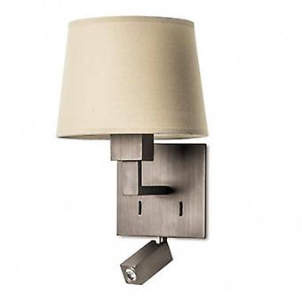 Led 2 Light Indoor Wall Light Bronze With Reading Lamp