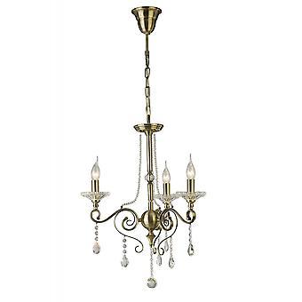 Diyas Libra Pendant 3 Light Antique Brass/Crystal