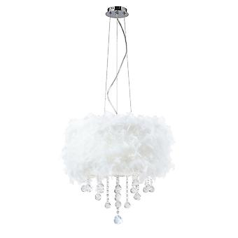 Diyas Ibis Pendant With White Feather Shade 3 Light Polished Chrome/Crystal