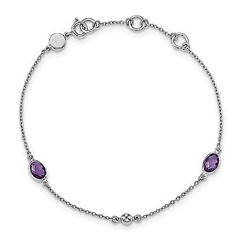 925 Sterling Silver White Ice Amethyst and .01 Ct Diamond Bracelet - .01 dwt .86 cwt - 7.5 Inch