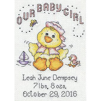 Our Baby Girl Chick Birth Record Mini Counted Cross Stitch K-5