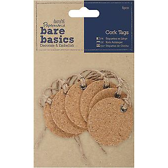 Papermania Bare Basics Cork Tags 6/Pkg-Heart PM174806