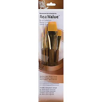 Real Value Brush Set Synthetic Gold Taklon Round 4,8, Wash 1 2,1 P9146