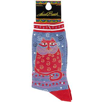 Laurel Burch Socks Crimson Cat Socks 1104D