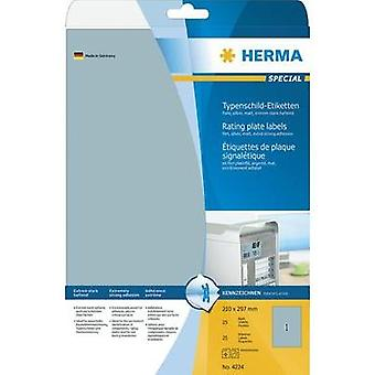 Herma 4224 Labels (A4) 210 x 297 mm Polyester film Silver 25 pc(s) Permanent Nameplates Laser, Copier