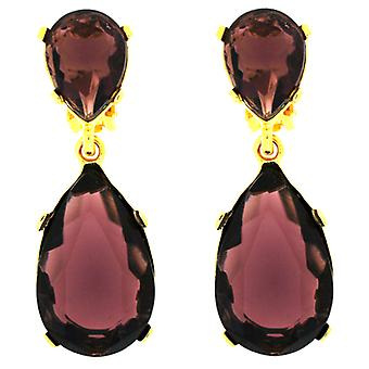Kenneth Jay Lane Amethyst Purple Crystal & Gold Teardrop Clip On Earrings