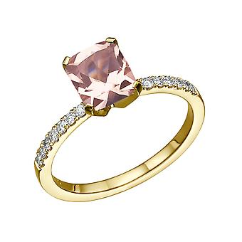 14K Yellow Gold 3.14 CTW natural peach/pink VS Morganite Ring with Diamonds Emerald Classic Unique