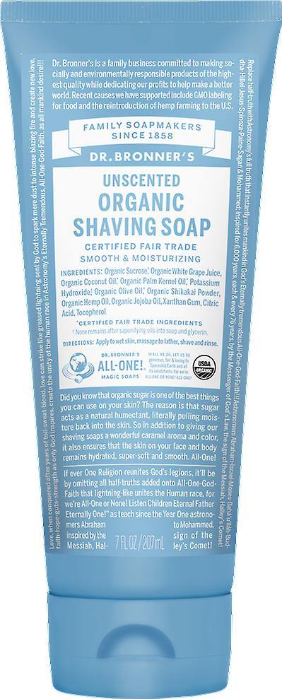 Dr Bronner Organic Fair Trade Shaving Soap Gel Unscented