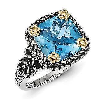 Sterling Zilver met 14 k 4.50Swiss Blue Topaz Ring - Ringmaat: 6 tot en met 8
